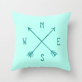 Find My Way \\ Teal Compass Art Throw Pillow