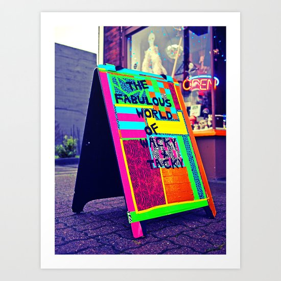Colorful sidewalk sign Art Print