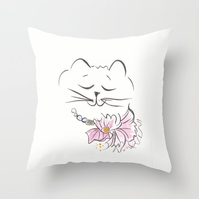 Sweet Cat with Flower Necklace Throw Pillow