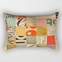 Vintage Abstract Grid Collage Rectangular Pillow