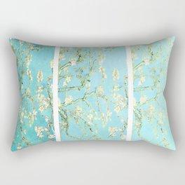Vincent Van Gogh Almond Blossoms  Panel arT Aqua Seafoam Rectangular Pillow