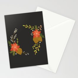 Winter Florals on Black Stationery Cards