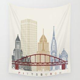 Pittsburgh V2 skyline poster Wall Tapestry
