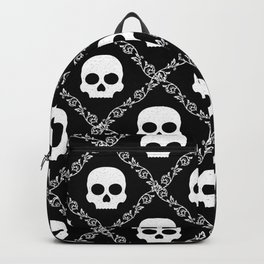 Skulls & Flowers - Black Backpack