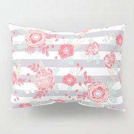 Elli - gender neutral florals grey stripe pattern modern nursery home decor Pillow Sham