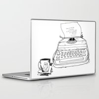 hemingway Laptop & iPad Skins featuring Earnest Hemingway Writing on Typewriter by Meghann Chapman