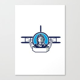 World War One Aviator Pilot Biplane Circle Retro Canvas Print