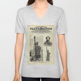 Statue of Liberty Construction Illustration Unisex V-Neck