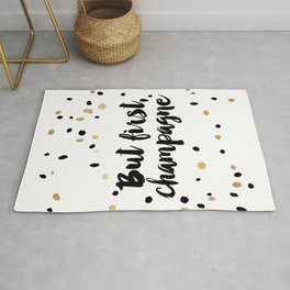 But First, Champagne Print Kitchen Decor Kitchen Wall Art Gold Foil Printable Party Decor Party Sign Rug