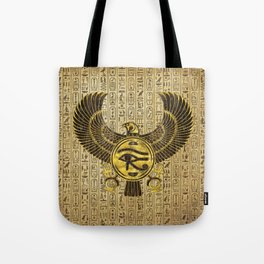 Egyptian Eye of Horus - Wadjet Gold and Wood Tote Bag