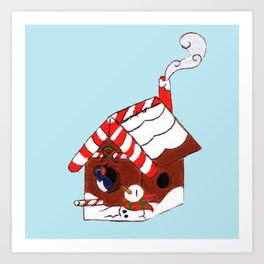 The Birdy's Christmas Cottage Art Print