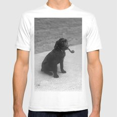 Pipe puffing dog. Mens Fitted Tee White MEDIUM