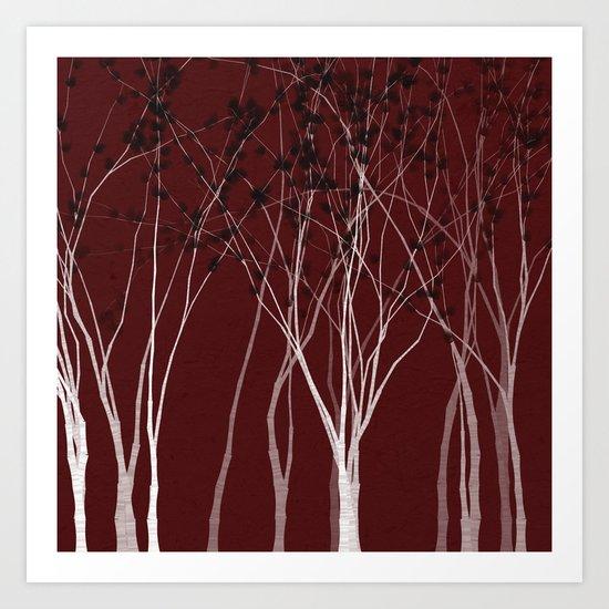 Crimson Night Forest Art Print