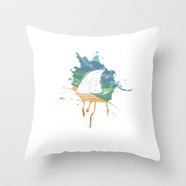 Distressed Retro Shark Surfing Diving Freediver Throw Pillow