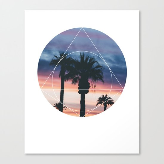 Sunset Palms - Geometric Photography Canvas Print