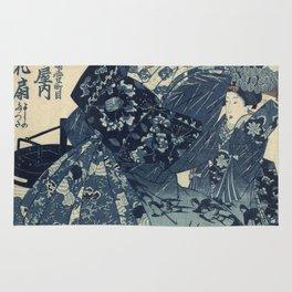 Utagawa Kunisada - The Courtesan Hanao Of Ogi-Ya Rug