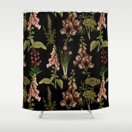 Vintage Botanical Springflowers And Herbs Midnight Garden Shower Curtain