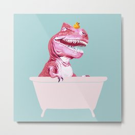 Pink T-Rex in Bathtub Metal Print