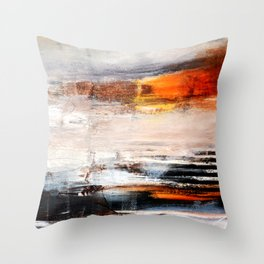 Rust White Black Abstract Painting Print  Throw Pillow