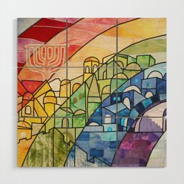 Jerusalem Rainbow Wood Wall Art
