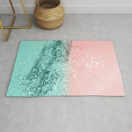 Summer Vibes Glitter #4 #coral #mint #shiny #decor #art #society6 Rug