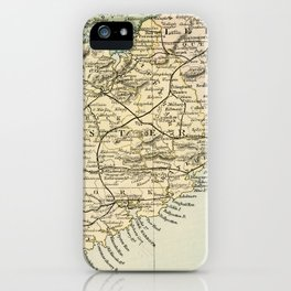 Vintage and Retro Map of Southern Ireland iPhone Case
