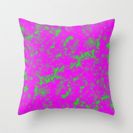 A interweaving cluster of pink bodies on a green background. Throw Pillow