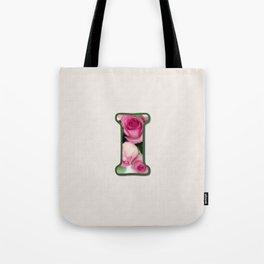 Letter I Rose Monogram Tote Bag