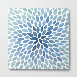 Floral Bloom, Abstract Watercolor, Blue and Green, Floral Prints Metal Print