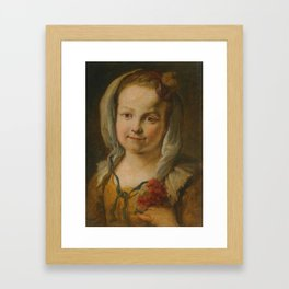 North Italian School Portrait Of a Young Girl In a Yellow Dress Holding Flowers Framed Art Print