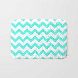 Chevron (Turquoise & White Pattern) Bath Mat