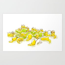 Dog and Full of Cats Funny illustration Art Print