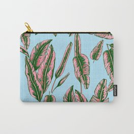 Blue and Pink Banana Leafs Carry-All Pouch
