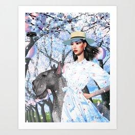 Cherry Blossom Girl and Giant Schnauzer Art Print