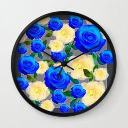 CHARCOAL GREY DECORATIVE WHITE & BLUE ROSE GARDEN Wall Clock