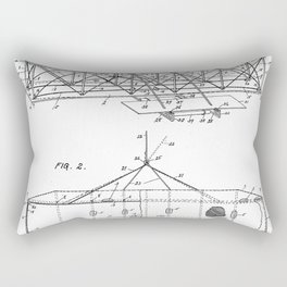 Wright Brother's Airplane Patent - Aviation History Art - Black And White Rectangular Pillow
