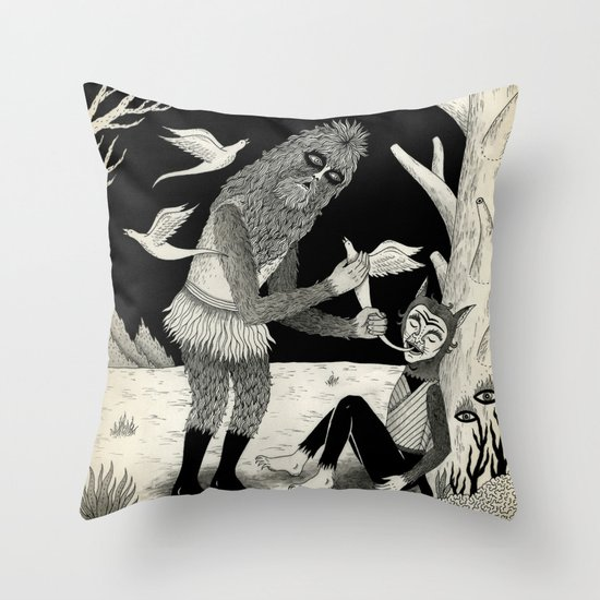 Thievery in the Woods Throw Pillow