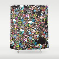 sticker Shower Curtains featuring Sticker Bomb by thickblackoutline