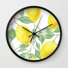 Lemons and Flowers Wall Clock
