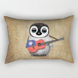 Baby Penguin Playing Taiwanese Flag Guitar Rectangular Pillow