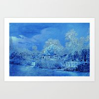 scrubs Art Prints featuring Wedgewood Blue English Garden by Judy Palkimas