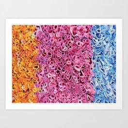 Orange, Pink and Blue Textile Texture Art Print