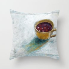 Cherry compote in my cup Throw Pillow