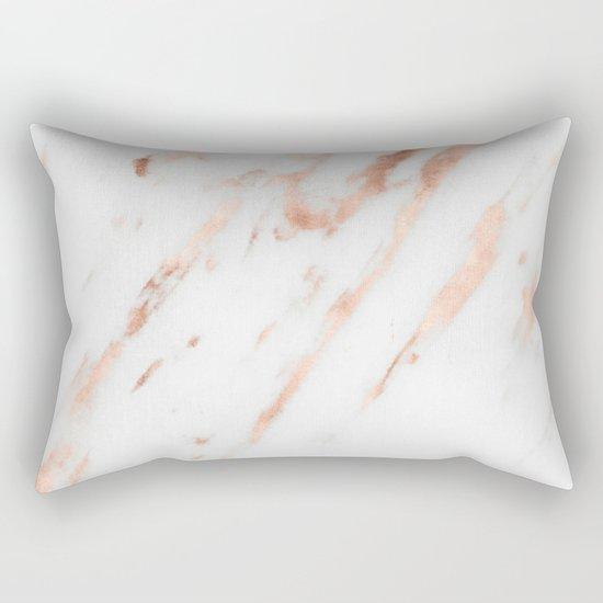 Pink Quartz Marble Rose Gold White Rectangular Pillow By