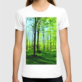 Sky Blue Morning Forest T-shirt