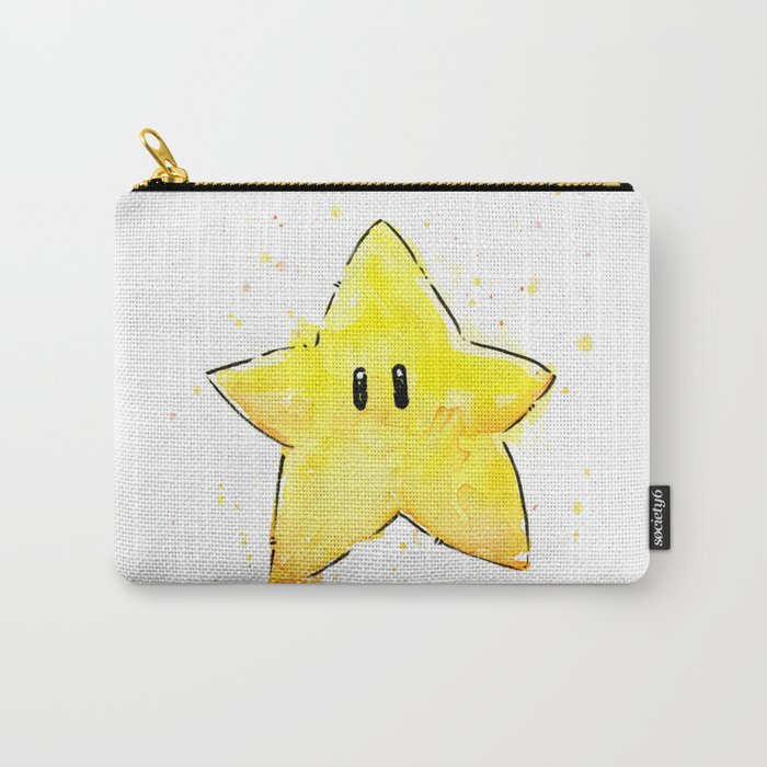Invincibility Star Mario Watercolor Geek Gamer Art Carry-All Pouch