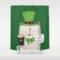 irish Shower Curtains featuring Saint Patric's cat, Cat cartoon characters, Irish Cat cartoon, ZWD004 by ZeeWillDraw