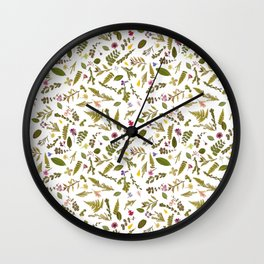 Greenery Floral Pressed Flowers Wall Clock