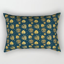 Baby Feet and Hearts Seamless Pattern in gold color Rectangular Pillow