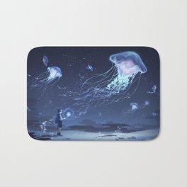 Boy in a land of jellyfish Bath Mat